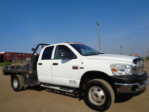 2007 DODGE RAM 3500HD-QUADCAB-DULLY-FLATBED-ONE OWNER TRUCK
