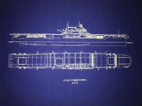 USN WW2 Carrier Yorktown sank in war Blueprint Plan 20x26 (022)