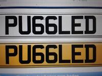 PRIVATE PLATE 'READS PUGGLED!!! PUG DOG PUEGEOT PUGG PUGGLE ETC PERSONAL REG