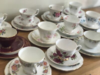 Set of vintage mismatched china trios- cup,saucer and tea plate