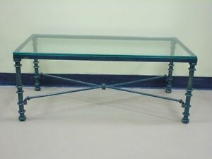 Glass and Jade colour Wrought Iron designer coffee table
