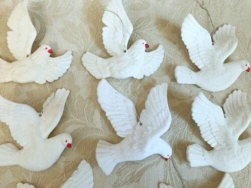 "Lot of 8 White Bird DOVES Christmas Tree Ornaments Beautiful Set 4"" each"