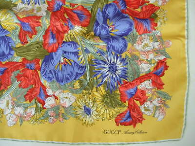 "GUCCI silk scarf VTG gold red purple floral 34"""