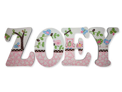 Hand Painted Custom Wood Wooden Name Nursery Wall Hanging Decor Letters 8 Inch