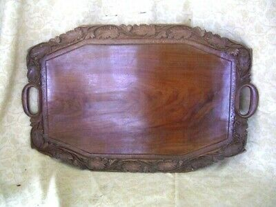 ANTIQUE BLACK FOREST WOODEN CARVED TRAY/  PLATTER