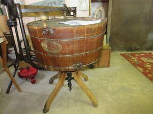 1904 gravity wooden stave barrel cast iron wash machine gorgeous