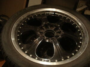 "17"" BLACK GUNMETAL MAGS CHROME LIP 5 BOLT UNIVERSAL W/TIRES!!!"
