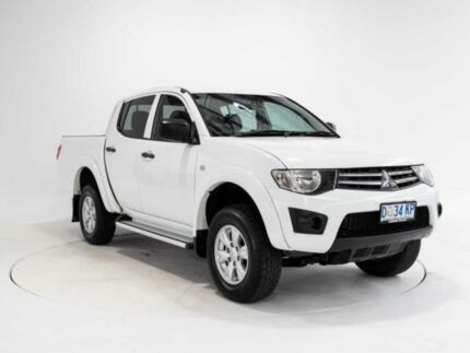 2013 Mitsubishi Triton MN MY14 Update GLX (4x4) White 5 Speed Manual 4x4 Double Cab Utility Cooee Burnie Area Preview
