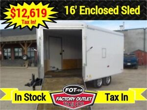 2019 - 8.5 X 16 Enclosed Sled Trailer by Forest River -*TAX IN*-