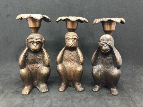 Vintage Brass Candle Holders, Monkey See No Evil, Speak No Evil, Hear No Evil