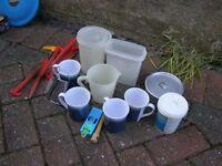 Tupperware containers, melemine cups, caravan leveler, water purifier powder (Puriclean)