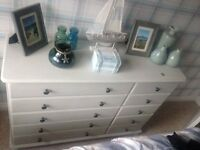 Solid pine; bedroom suite; painted light grey; burea, drawer chest, bedside units and headboard