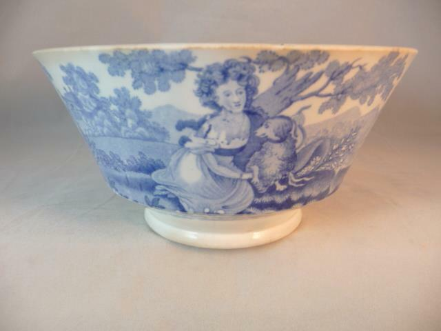 ANTIQUE WILLIAM RIDGWAY & Co FORGET ME NOT PATTERN BLUE & WHITE BOWL c1840