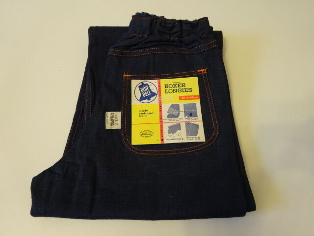 Vintage 1950s BLUE BELL BOXER LONGIES Indigo Denim Pant Jeans Kids 10 SANFORIZED
