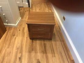 2 walnut sharps bedside tables