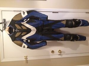 Leather Tecnic 2 piece blue and white suit