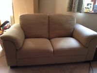 Two Seater Ikea Settee / Sofa, Tan Hessian Type Fabric, Three Years Old, Clean Condition