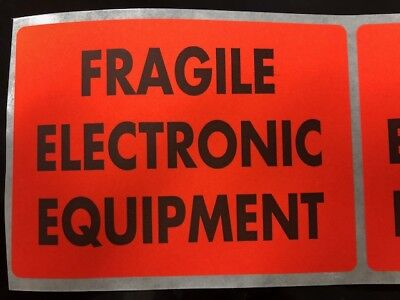 250 Fragile Electronic Equipment Labels Stickers 4.250 X 3.125 Red Neon New