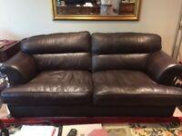 Beautiful Three Seater & Matching Armchair | Dark Brown
