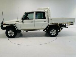 2013 Toyota Landcruiser VDJ79R MY13 GXL Double Cab White 5 Speed Manual Cab Chassis Cooee Burnie Area Preview