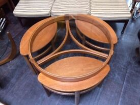 Glass Coffee Table with 3 Matching Nesting Tables by Nathan Furniture. Retro Vintage Mid Century