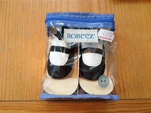 Robeez black and white Mary Jane style shoes (Size 0-6 months)