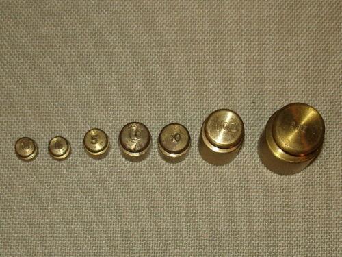 7 UNBRANDED BRASS SCALE WEIGHTS - 1 & 2 oz  (2)10 gram  5 gram & (2) 2 gram VGC