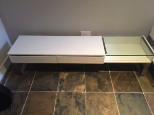 Low Ikea entertainment unit with matching end table - White.
