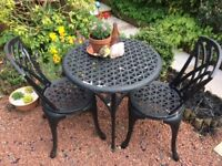 Black metal garden table and 2 chairs...see pic