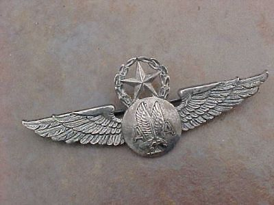 Vintage American Airlines Lgb Sterling Flight Attendant Wings W  Wreath   Star