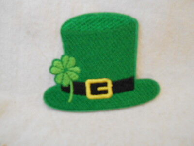 ST. PATRICK HAT 4 LEAF CLOVER NEW EMBROIDERED  SEW/ IRON ON NAME PATCH TAG