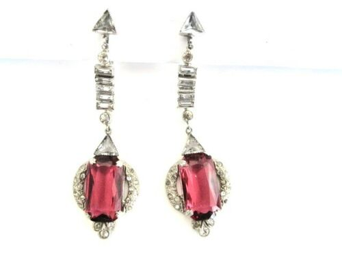 Antique Vintage Edwardian Art Deco Pink - Red Rhinestone Screw-Back Earrings