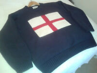 Hackett Classic '90's' Blue Cotton Jumper with St.George's flag - Large - £17.50