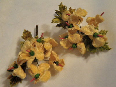 "Vintage Millinery Flower Collection 2"" Yellow Gold Velvet for Hat Hair H1412"