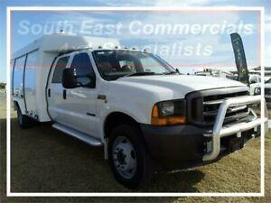 2003 Ford F450 4 X2, DUAL CAB SERVICE BODY White COLUMN SHIFT DUAL CAB, CAB CHASSIS Pakenham Cardinia Area Preview