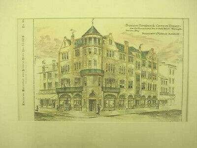 Business Premises, Gunton Estate, Washington, DC, 1884, Original Hand Colored