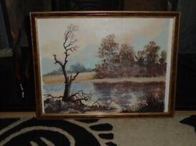 Vintage Oil Painting, Landscape, Signed R Harper, Oil On Paper