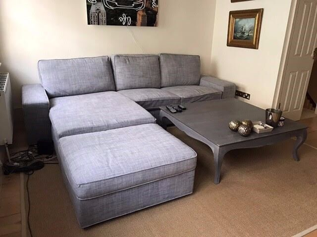 l couch sofa grey excellent condition ikea kivik sofa chaise lounge footstool in central. Black Bedroom Furniture Sets. Home Design Ideas