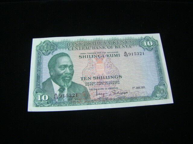 Kenya 1971 10 Shillings Banknote XF Pick #7b