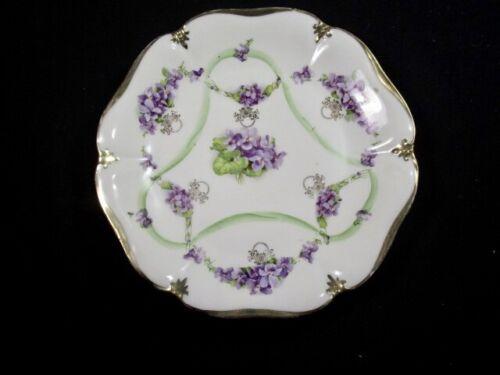 "Antique  -  Beautiful Lavender Flowers  -   ES Prussia -  9""  Plate"