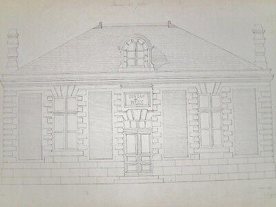 DESSIN ORIGINAL Encre ARCHITECTURE Signé DELAPLACE Bureau de Police 1893