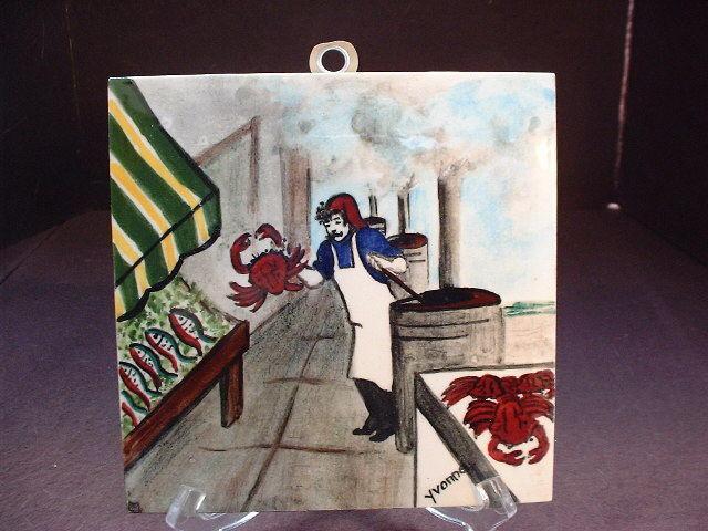 Vtg Gladding Mcbean Hptd Fish Market Hermosa California Art Tile Artist Signed