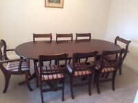 8 Seater Extending Dining table + 8 chairs, mahogany effect