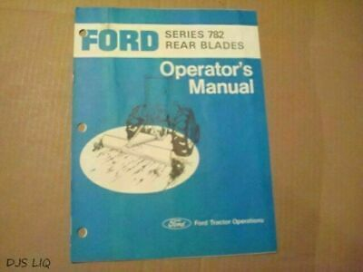 Vintage Ford Series 782 Tractor Rear Blade Owner Manual Ae356