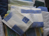 Blue and cream single quilt cover set - barely used