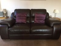 Modern brown leather suite consisting of 3 and 2 seater settee, chair and storage foot stool