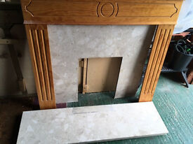 Wooden fire surround, marble back plate and hearth