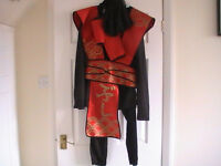 Ninja warrior outfit, size 8-16 (stretchy material), red and black