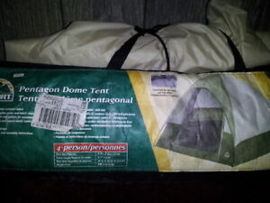 Tent (4 person) and sleeping bag.  Used once.