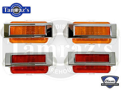 1969 Chevy Camaro Front & Rear Side Marker Light Lamp & Bezel SET CHQ NEW